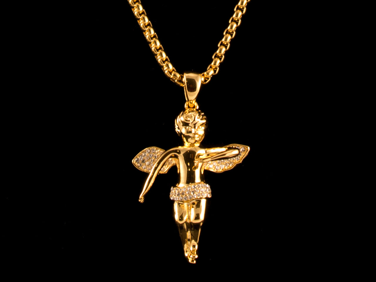 Paved Angel Charm Amp Necklace All4gold Com