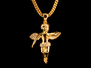 18K Gold Iced Angel Pendant - All4Gold.com
