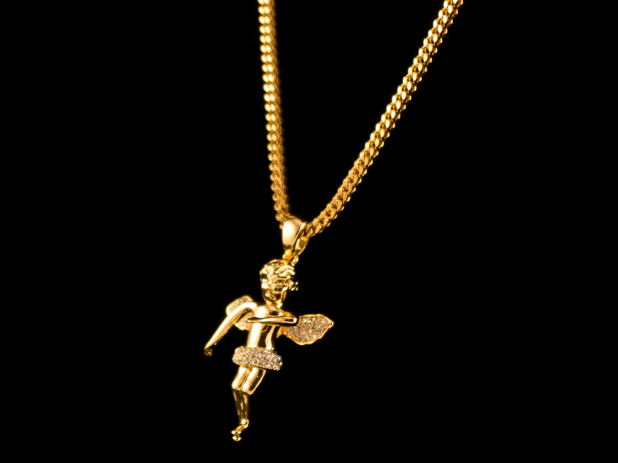 Micro Pave Gold Angel Pendant + Necklace - All4Gold.com