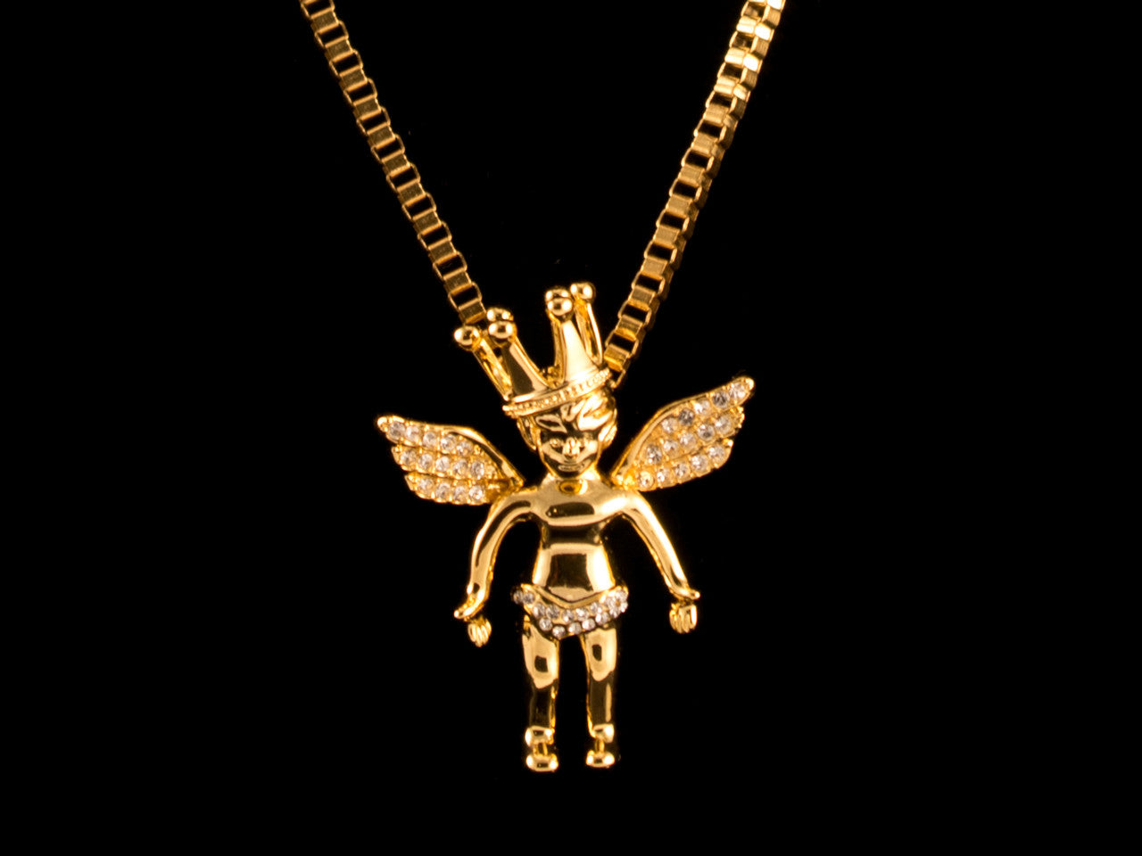 Paved Crown Cherub Charm & Necklace