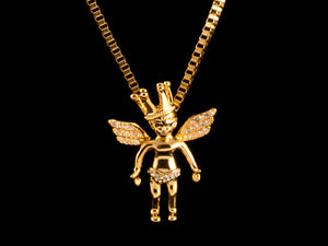 Iced Gold Crown Cherub Pendant - All4Gold.com