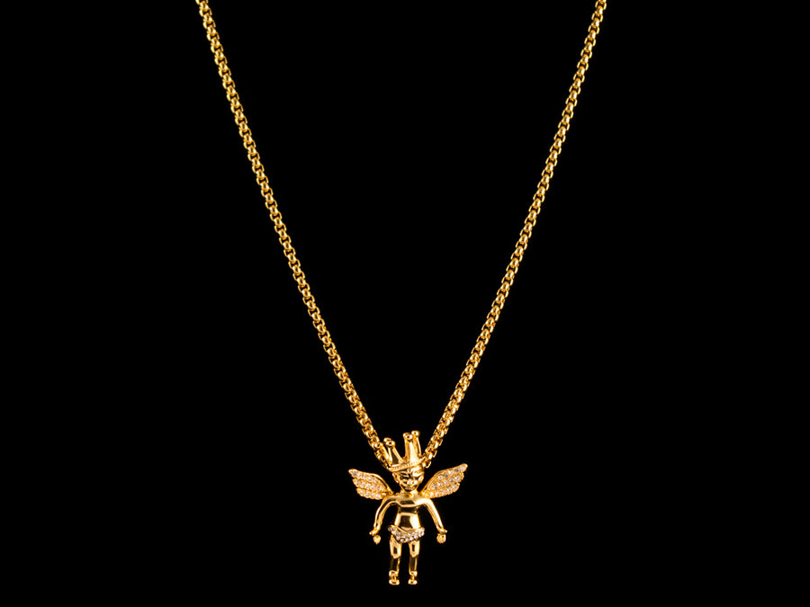 Micro Pave Gold Crown Cherub Pendant + Necklace - All4Gold.com