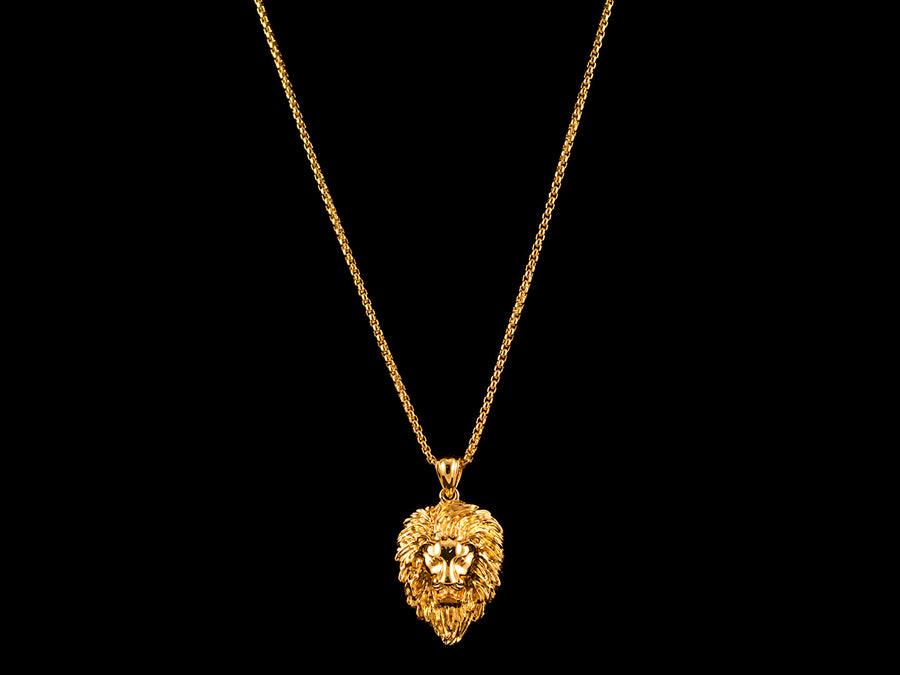 18K Gold Roaring Lion Pendant - All4Gold.com
