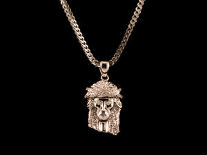 White Gold Diamond Crown Jesus Piece - All4Gold.com