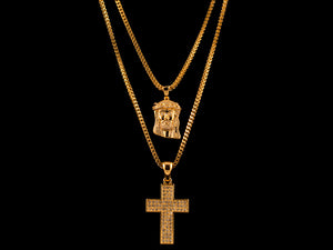Micro Pave Jesus Piece + 3 Row Cross - All4Gold.com