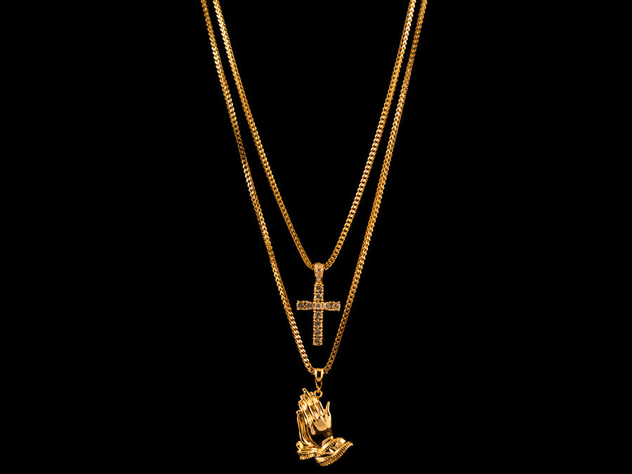 18K Gold Praying Hands Charm + Micro Cross - All4Gold.com