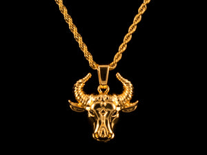 Gold Taurus Pendant + Necklace - All4Gold.com