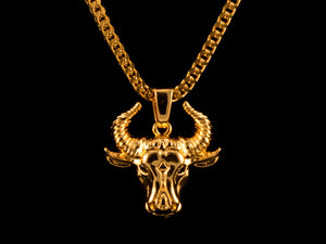 18K Gold Taurus Bull Pendant - All4Gold.com