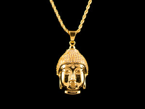 18K Gold Iced Crown Buddha Pendant - All4Gold.com
