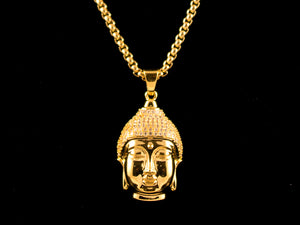 18K Gold Iced Crown Buddha Charm - All4Gold.com