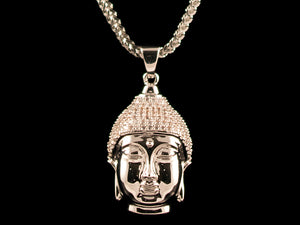 White Gold Buddha Pendant - All4Gold.com