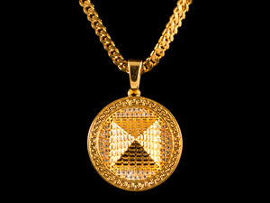 18K Gold Iced 3D Pyramid Charm - All4Gold.com