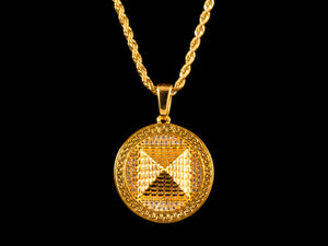 Gold Micro Pave 3D Pyramid Pendant + Necklace - All4Gold.com