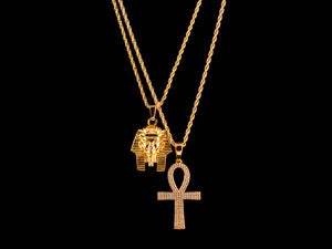 Egyptian Gold Pharaoh + Micro Paved Ankh - All4Gold.com