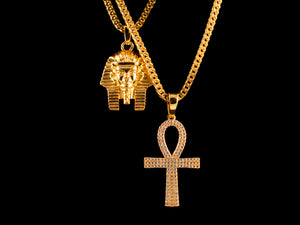 18K Gold Egyptian Pharaoh + Iced Ankh - All4Gold.com