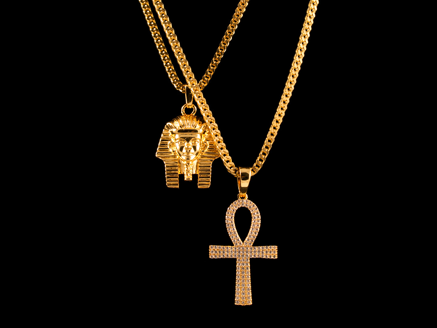 Egyptian Gold Pharaoh + Iced Ankh