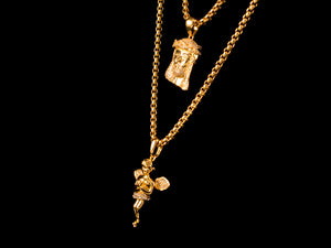 Micro Pave Gold Jesus Piece + Praying Angel - All4Gold.com