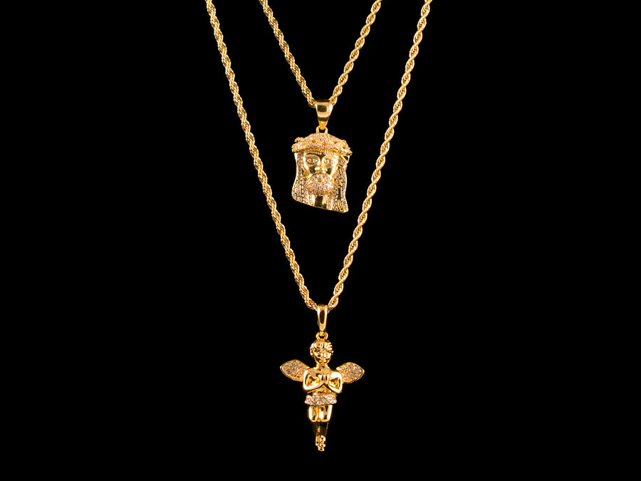 Iced Gold Jesus Piece + Praying Angel - All4Gold.com
