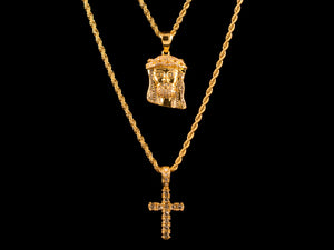 18K Gold Iced Jesus Piece + Micro Cross Set - All4Gold.com