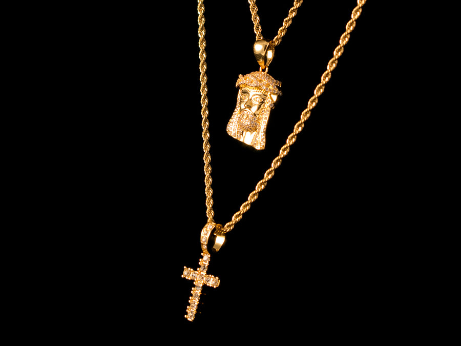 Gold Micro Pave Jesus Piece + Micro Cross Set - All4Gold.com