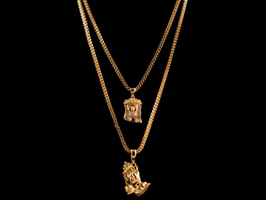 18K Gold Iced Jesus Piece + Praying Hands - All4Gold.com
