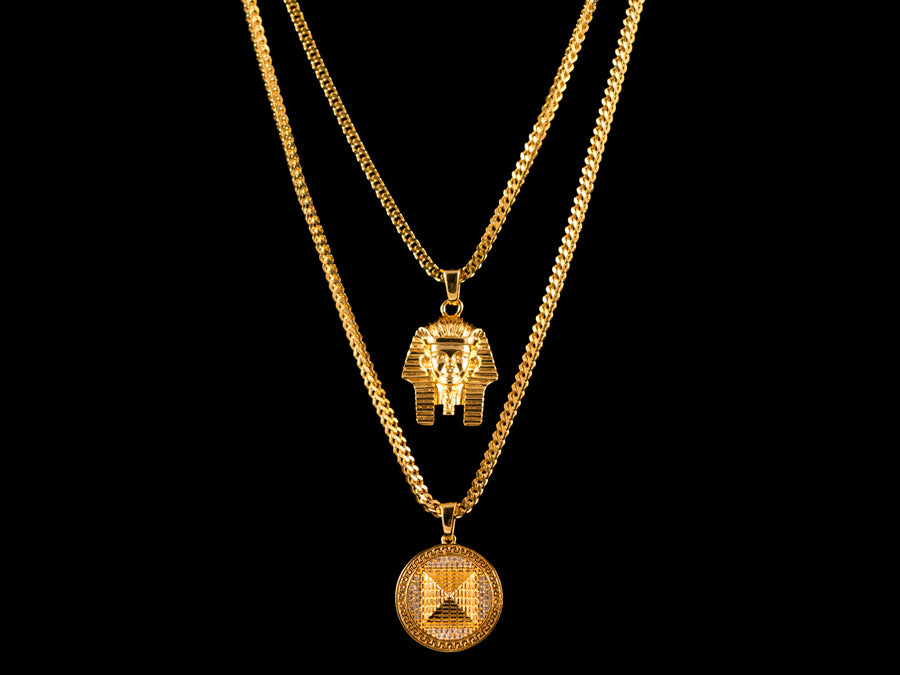 18K Gold Egyptian Pharaoh + Iced 3D Pyramid Set - All4Gold.com