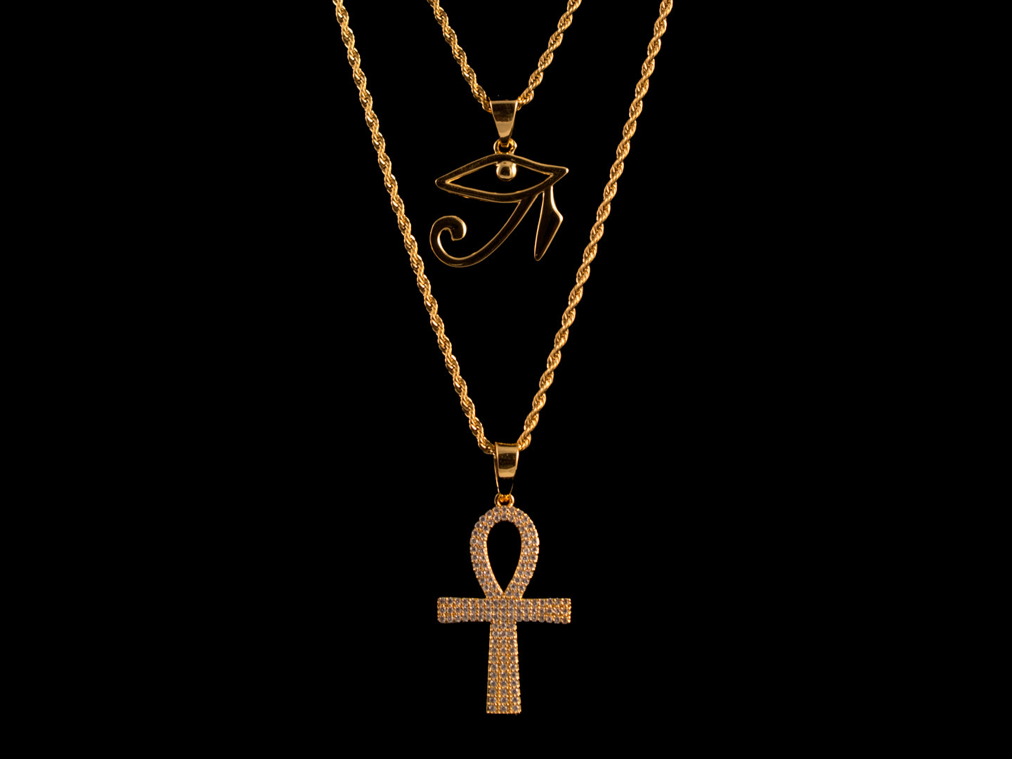 Paved Ankh & Eye of Horus Set