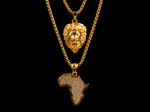 Gold Micro Pave Africa + Roaring Lion - All4Gold.com