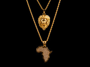 18K Gold Iced Africa + Roaring Lion Set - All4Gold.com