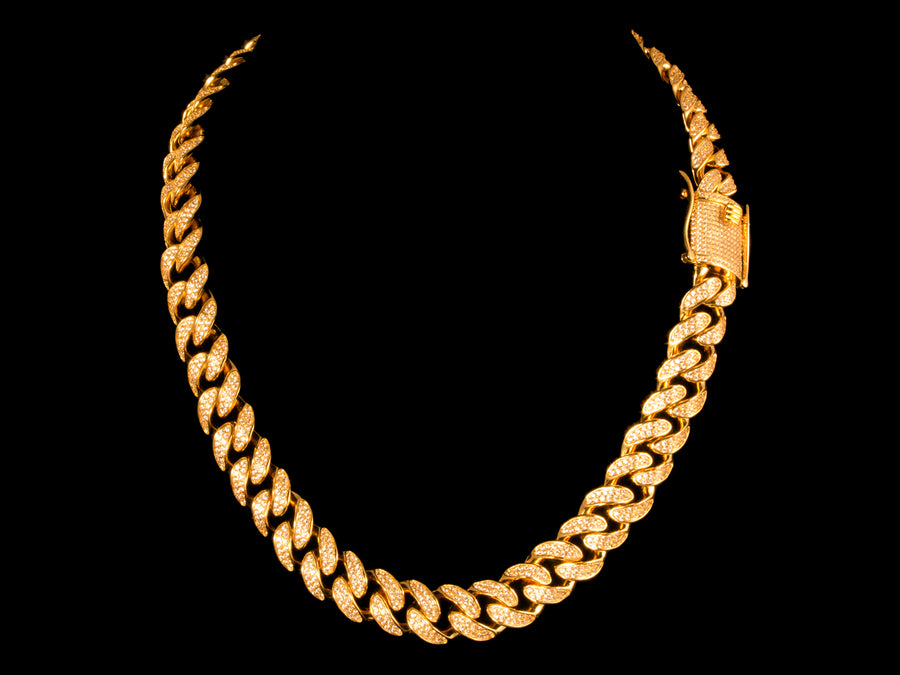 Micro Pave Cuban Link Choker Chain + Bracelet Set - Gold - All4Gold.com