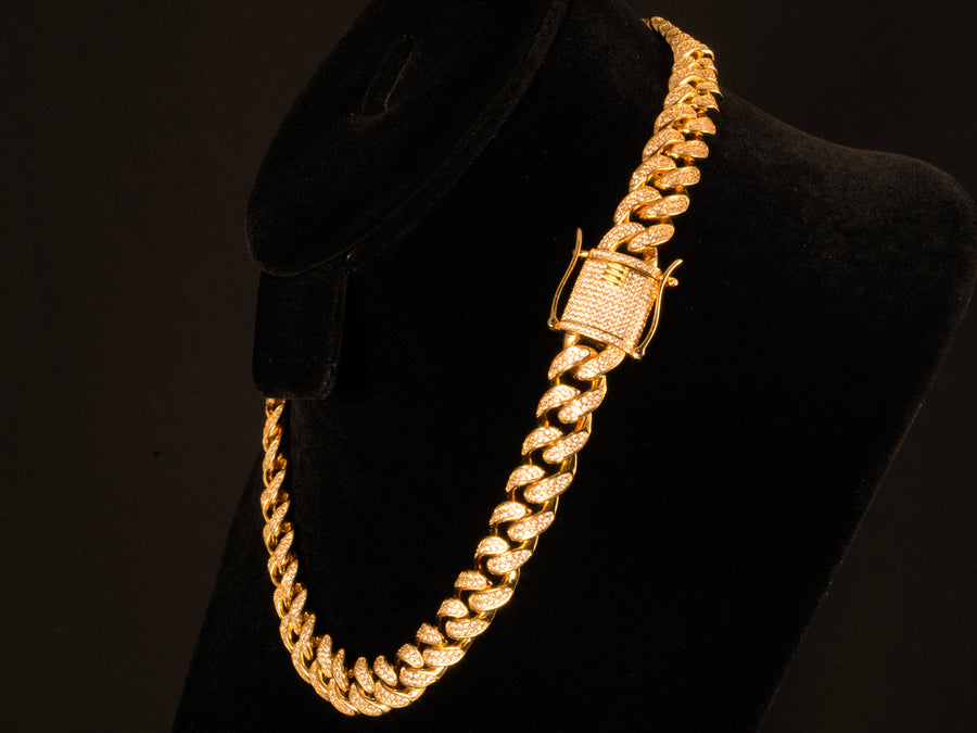 Micro Pave Cuban Link Choker Chain - Gold, 18 Inch, 12mm - All4Gold.com