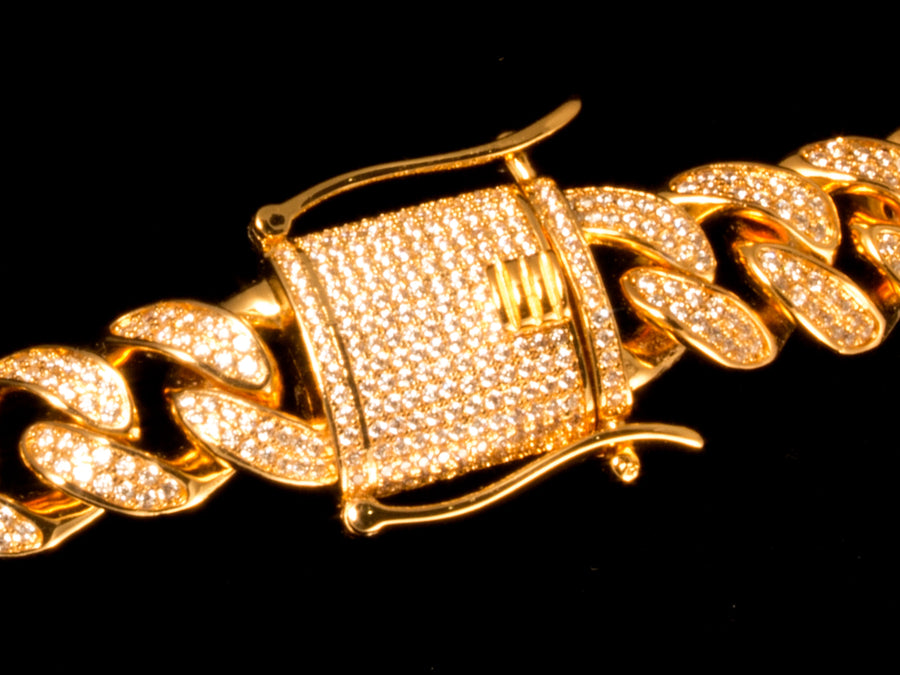 Gold Full Iced Cuban Link Bracelet - All4Gold.com