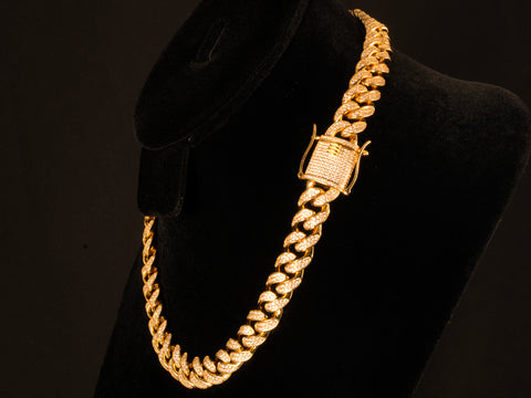 12mm Iced Cuban Link Choker - 18 Inch