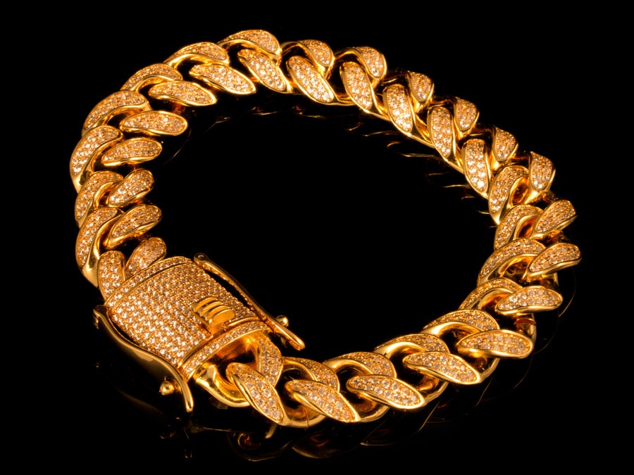 18K Gold 12mm Iced Cuban Link Bracelet, Box Clasp - All4Gold.com