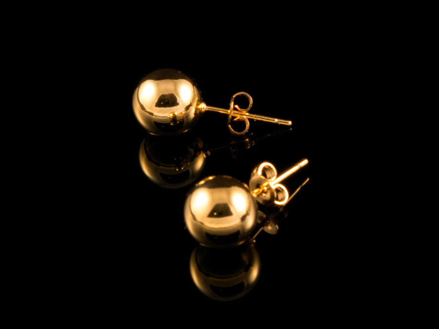 18K Gold Ball Stud Earrings - All4Gold.com