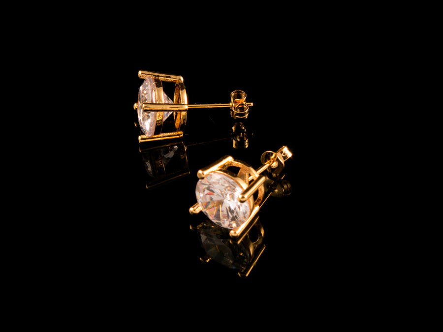 18K Gold CZ Stud Earrings - All4Gold.com