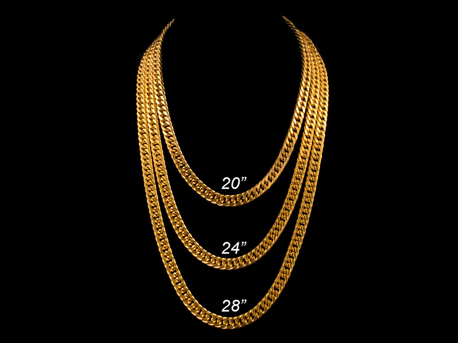 8mm Double Cuban Link Chain - Gold - All4Gold.com