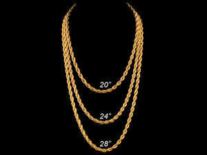 6mm Gold Rope Necklace + Bracelet - All4Gold.com