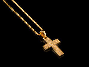 Full Pave Cross Pendant + Necklace - Gold - All4Gold.com