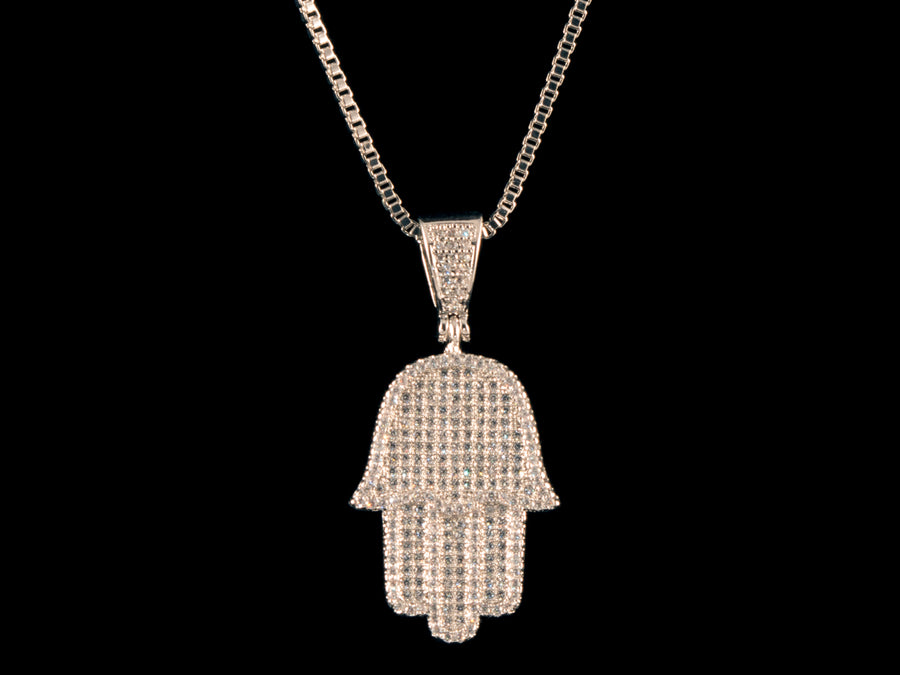 Iced Hamsa Pendant - White Gold - All4Gold.com