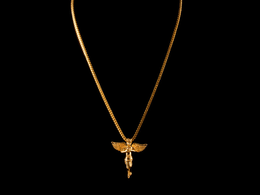 18K Gold CZ Crystal Inset Angel Charm - All4Gold.com