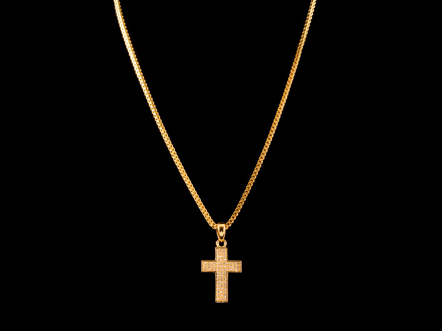 18K Gold Iced 3 Row Cross Charm - All4Gold.com