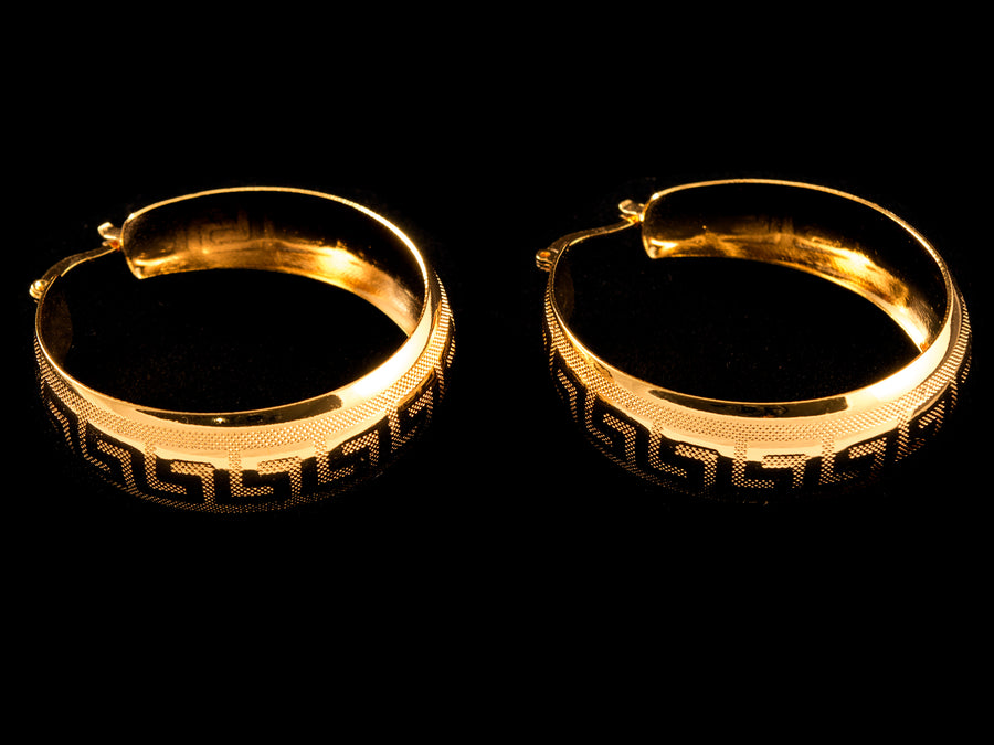 "18K Gold Designer ""G"" Hoop Earrings - All4Gold.com"