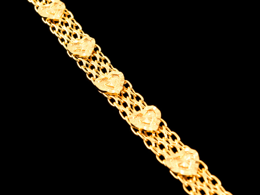 18K Gold Heart Chain Link Bracelet