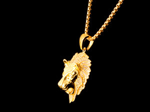18K Gold Iced Roaring Lion - All4Gold.com