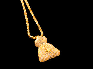 18K Gold Paved Money Bag Charm - All4Gold.com