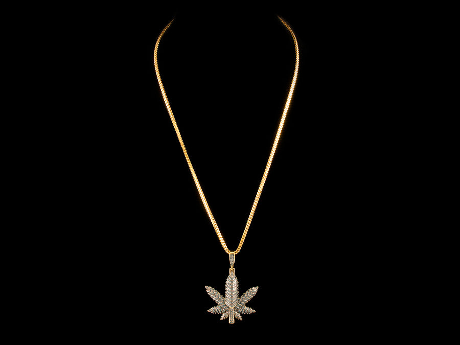 18K Gold Paved Herb Leaf Charm