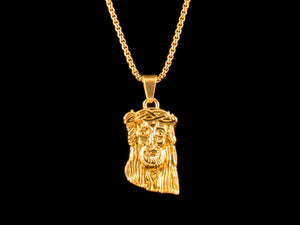 18K Gold Solid Jesus Piece & Chain