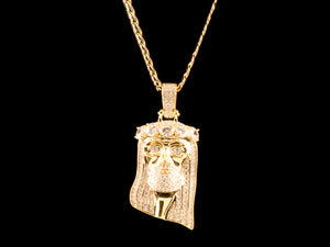 14K Gold Paved Jesus Piece & Cuban Link