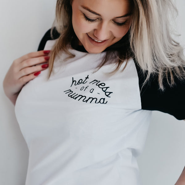 Hot Mess of a Mumma Organic Raglan T Shirt